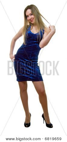 Girl In A Dark Blue Dress