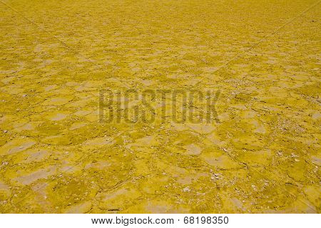 Sulfur floor macro detail