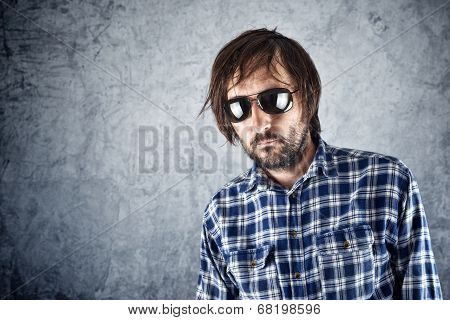 Unshaven Man With Sunglasses