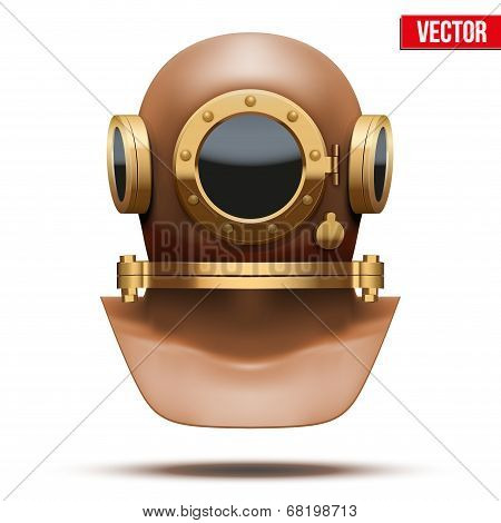 Underwater diving helmet. Vector Illustration