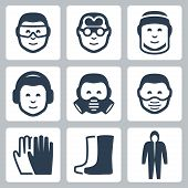 stock photo of protective eyewear  - Vector job safety icons set over white - JPG
