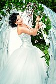 picture of wedding arch  - Beautiful elegant asian bride stands under the wedding arch - JPG