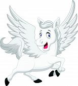 image of winged-horse  - Vector illustration of white flying horse cartoon - JPG
