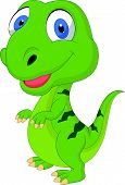 foto of terrific  - Vector illustration of cute cartoon green dinosaur - JPG