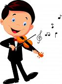 image of viola  - Vector illustration of little boy playing violin - JPG