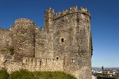 stock photo of templar  - North tower of the medieval templar castle in Ponferrada Bierzo Spain - JPG