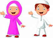 picture of muslim kids  - Vector illustration of happy Muslim kid cartoon - JPG