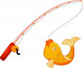 stock photo of hook  - Vector illustration of Cartoon Fishing pole with hook and fish - JPG