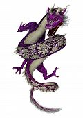 stock photo of eastern culture  - 3D digital render of a purple fantasy eastern dragon isolated on white background - JPG