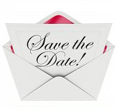 stock photo of time-saving  - Save the Date words on an invitation or message note in an open envelope event - JPG