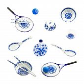 picture of blue things  - Traditional chinese things with blue and white pattern - JPG