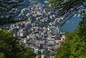 stock photo of salvatore  - view of Lugano from Monte San Salvatore Switzerland - JPG