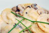 mushroom ravioli with cream sauce poster