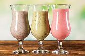image of fruit shake  - Healthy diet protein shakes fruits and sport and fitness concept - JPG