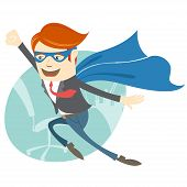pic of superman  - Vector Illustration of  Office superman flying in front of his working place - JPG