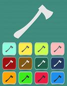 picture of ax  - Fire ax icon with color variations - JPG