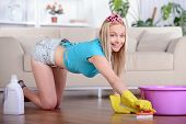 pic of dust mite  - Beautiful housewife cleans the floor at home - JPG