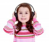 image of rap-girl  - Cute dark haired girl in the headphones - JPG