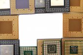 picture of microprocessor  - old microprocessors isolated on the white background - JPG