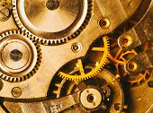 stock photo of mechanical engineering  - Clockwork Background - JPG