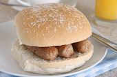 picture of bap  - Sausage sandwich or sausage bap a favourite British snack