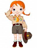 picture of boy scout  - Young happy Boy Scout girl gives a salute - JPG
