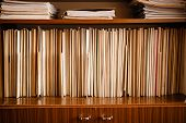 pic of waste management  - Old Keeping Paper Records On Shelves Background - JPG