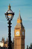 image of westminster bridge  - Vintage lamp post on Westminster Bridge with Big Ben in London - JPG