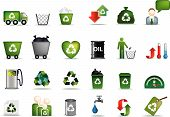 stock photo of recycling bin  - Eco icon set illustrated as green buttons - JPG