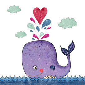stock photo of valentine card  - Cartoon  illustration with whale and red heart - JPG
