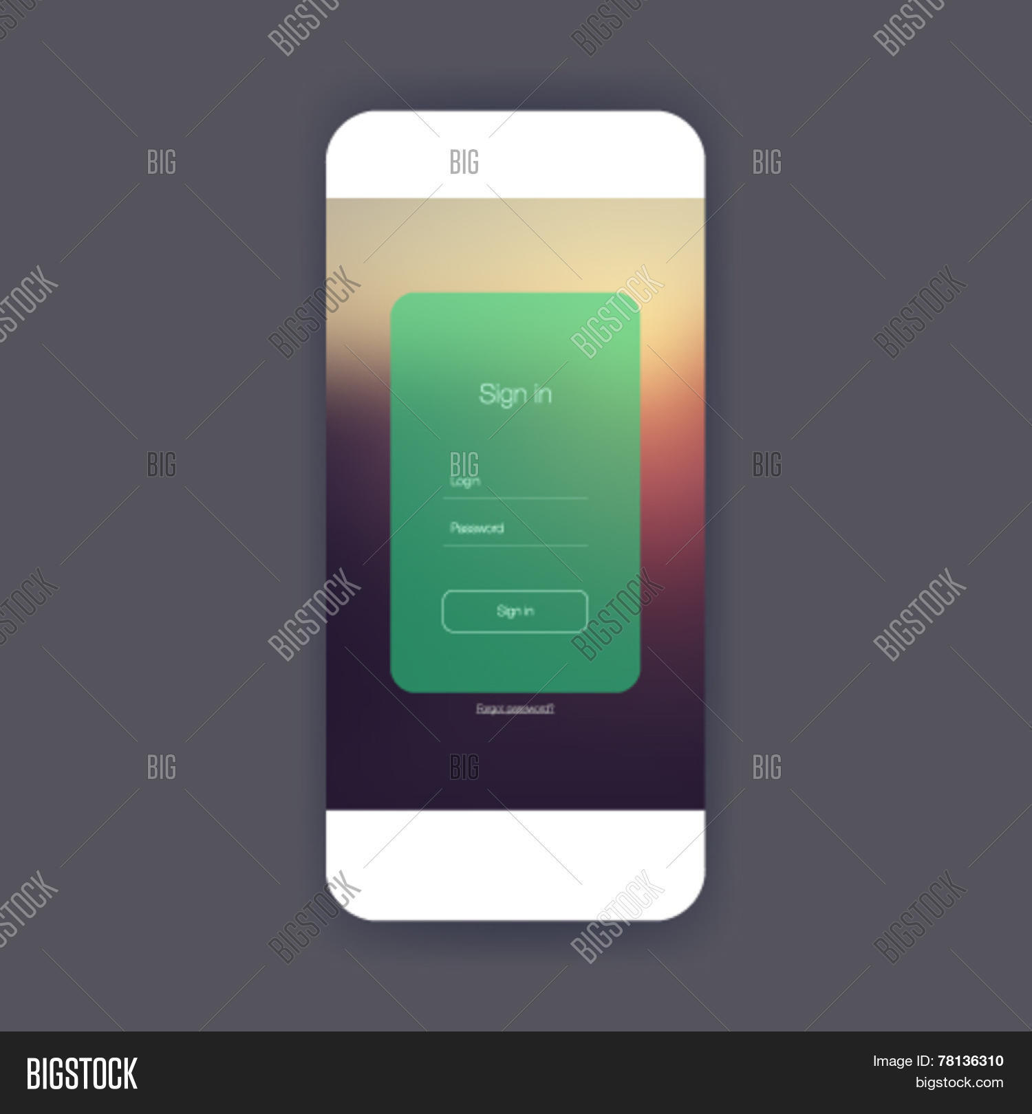 Flat ui sign in screen for mobile app design or wireframe ...