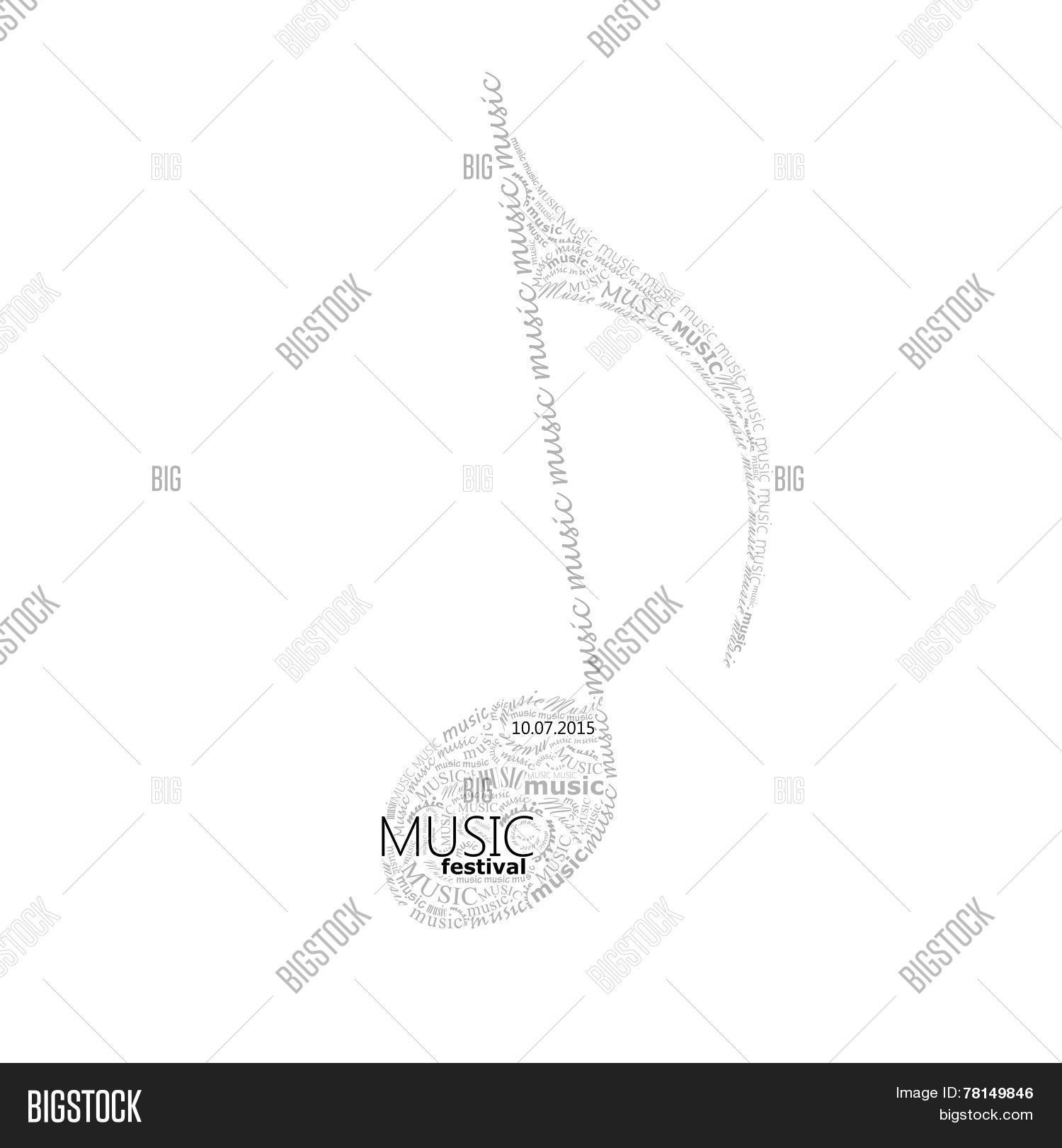 vector music illustration of a music note sign made of