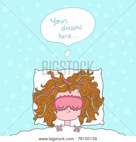 abstract illustration about girl dreams and wishes