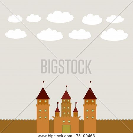 Card With Castle princess fairytale landscape. vector