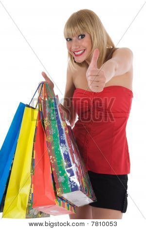 portrait of the expressive woman on white background shopping