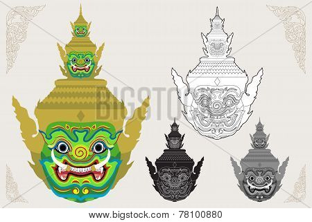 Ravana Giant Head Vector Illustration