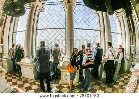 People Visit The Top Of The Campanile  At Plaza San Marco