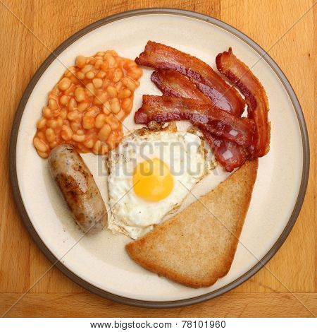 Full English fried breakfast viewed from above