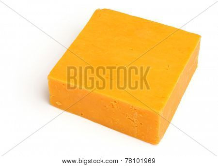 Block of Red Leicester cheese on white background