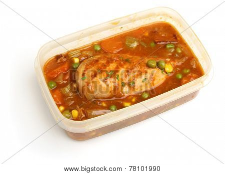 Chicken casserole meal in plastic container ready for chilling or freezing.