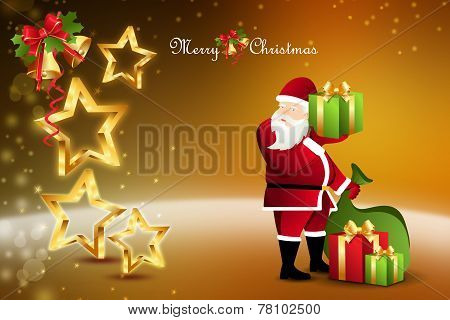 Christmas  gift box with santaclaus