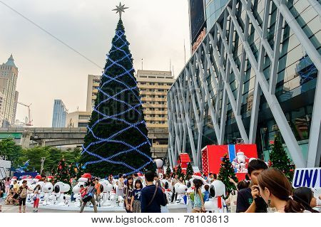 Front Of Central World With Festival And Christmas Decoration