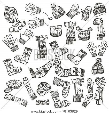 Outline Sketchy.Females knitted clothing accessories set