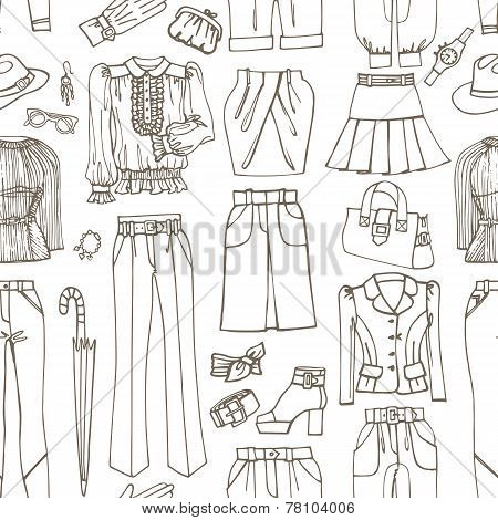 Outline Sketchy.Females clothing ,accessories seamless pattern