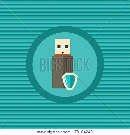 Data Protection In Portable Devices Flat Icon