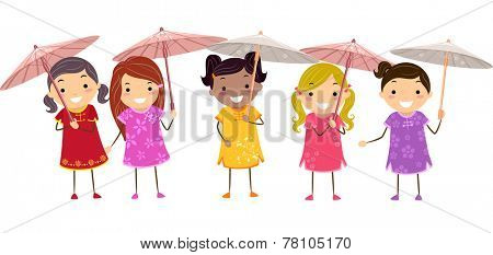 Illustration of Girls in Chinese Dresses Holding Chinese Parasols