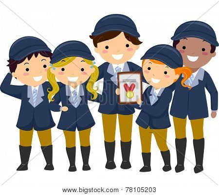 Illustration of Kids in Equestrian Uniforms Showing the Medal They Won