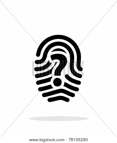 Question mark sign thumbprint icon on white background.