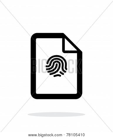 Fingerprint on file icon on white background.