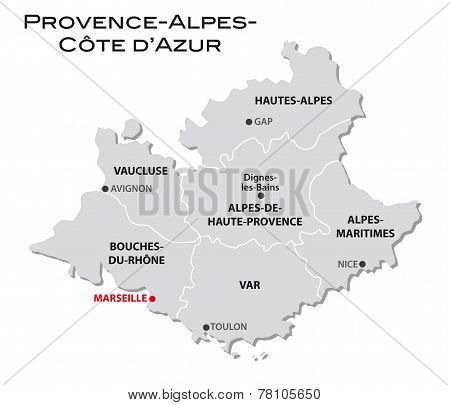 Simple Administrative Map Provence-alpes-cote D'azur